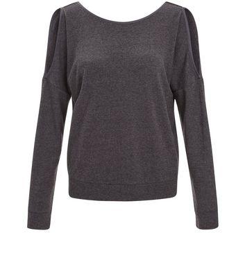 Dark Grey Brushed Cold Shoulder Pyjama Sweater New Look