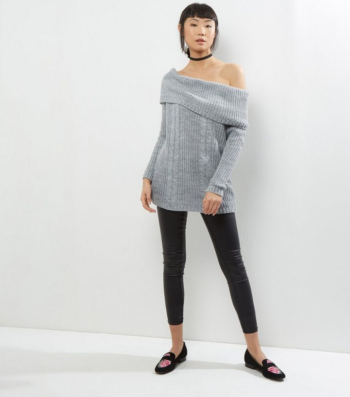 7aad3ff27a9 ... Cameo Rose Grey Cable Knit Bardot Neck Jumper Dress. ×. ×. ×. Shop the  look