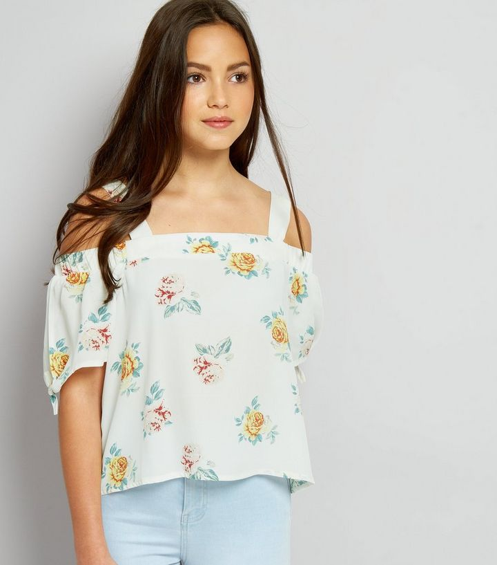 f80609b6167282 Teens White Floral Print Tie Sleeve Cold Shoulder Top