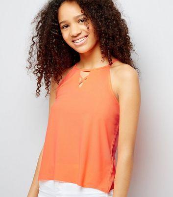 Teens Orange Crepe Jersey Lattice Front Cami New Look