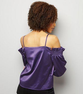Purple Satin Shirred Shoulder Bardot Neck Top New Look