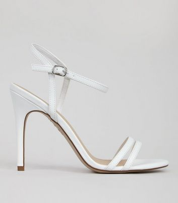 White Double Strap Front Heeled Sandals