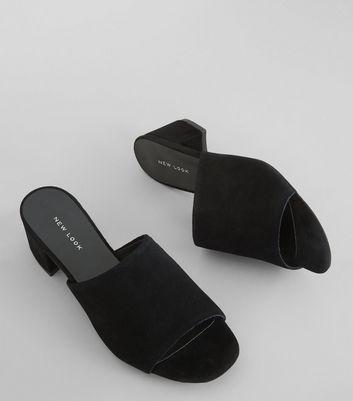 Black Suede Heeled Mules | New Look