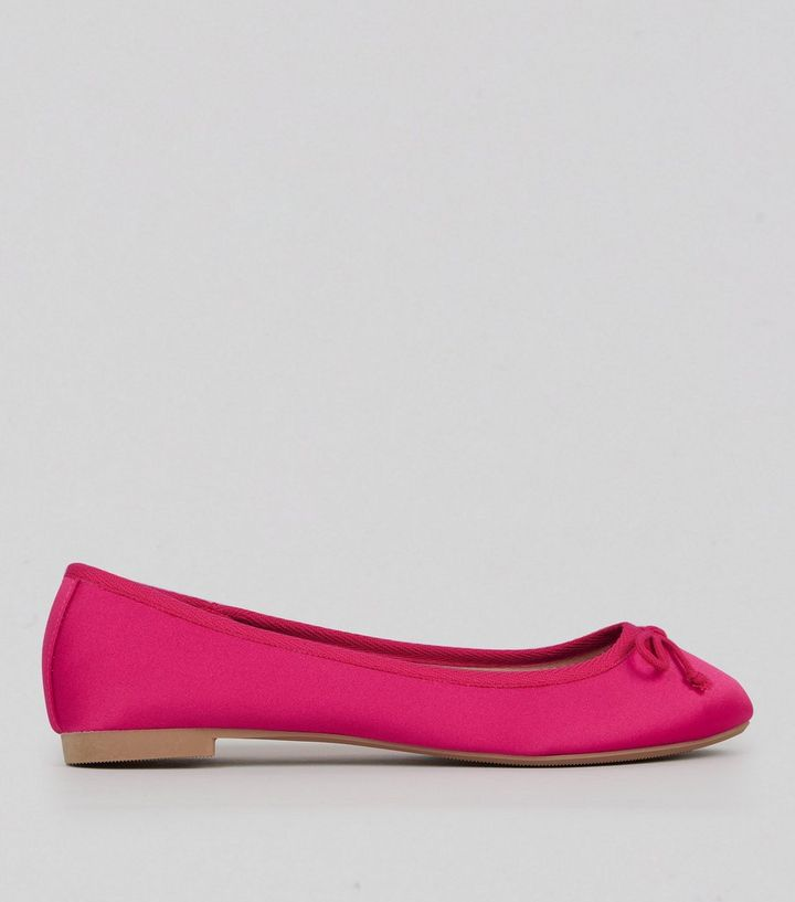 51fb0c793e5a7 Pink Satin Ballet Pumps | New Look