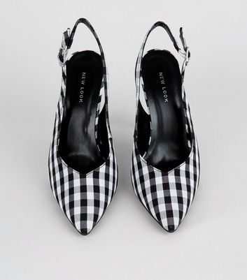 Black Gingham Pointed Sling Back Heels