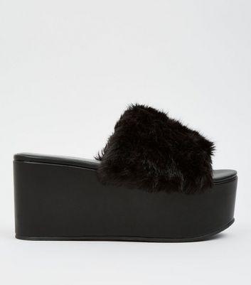 Black Faux Fur Flatform Mules New Look