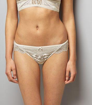 Cream Lace Trim Velvet Thong New Look