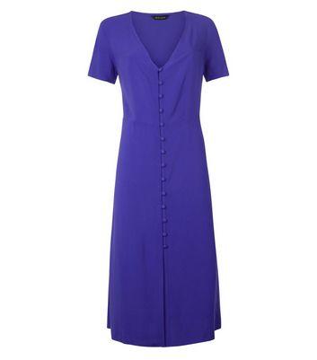 Purple V Neck Button Front Midi Dress New Look
