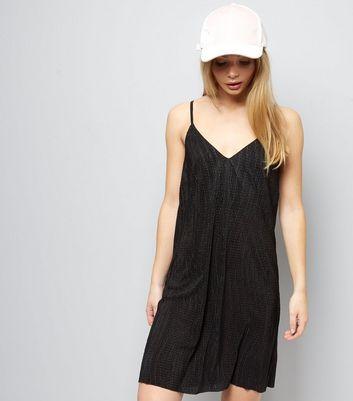 Black Textured Mini Slip Dress New Look