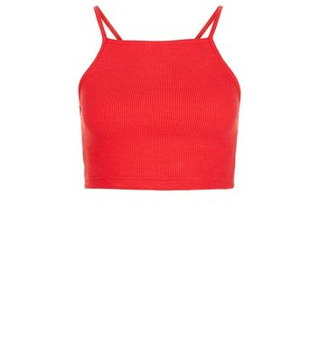 Red Ribbed Crop Top New Look