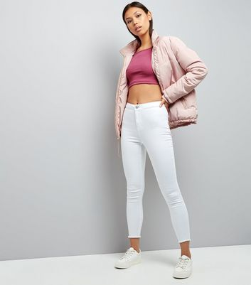 Bright Pink Ribbed Crop Top New Look