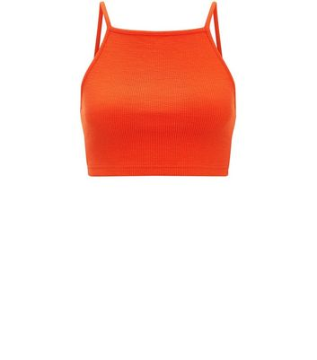 Orange Ribbed Crop Top New Look