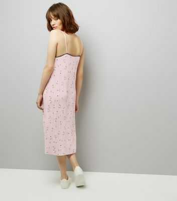 Pink Floral Print Pleated Midi Slip Dress New Look