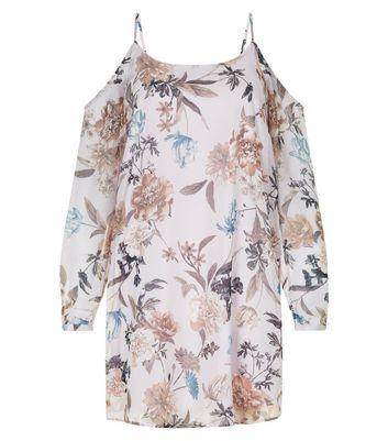 Lilac Floral Print Chiffon Cold Shoulder Dress New Look