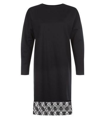 Black Lace Hem Long Sleeve Jumper Dress New Look