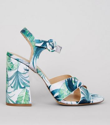 Green Floral Printed Heeled Sandals New Look