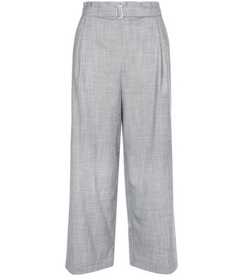 Pale Blue D Ring Belted Cropped Trousers New Look