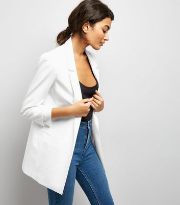 White Ruched Sleeve Blazer New Look