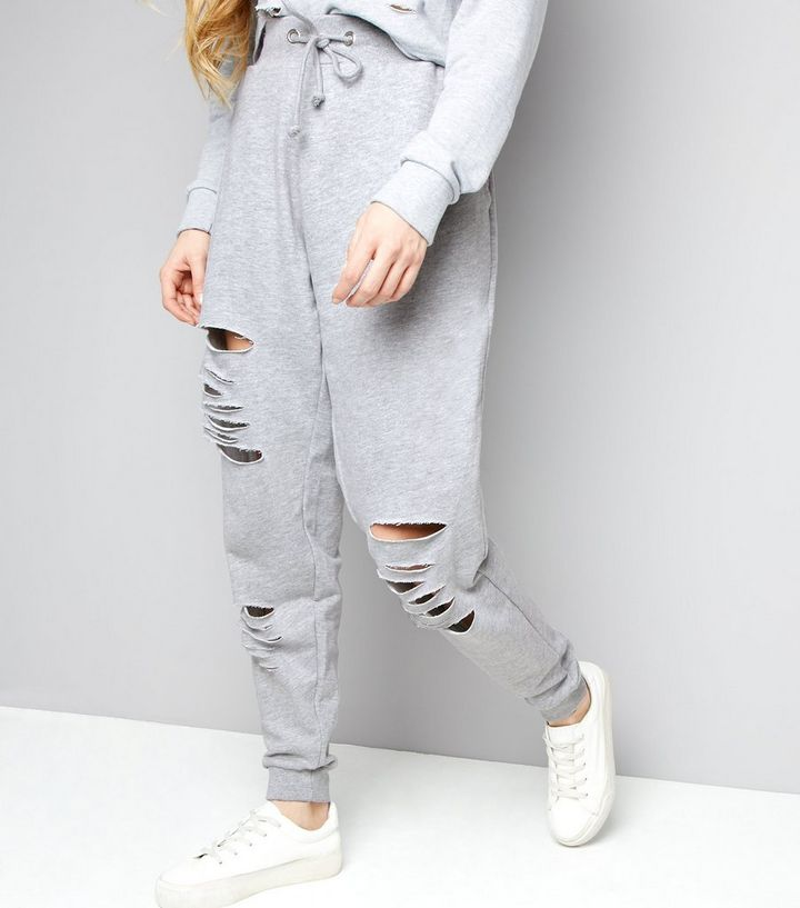 84a4744ce03c5f Parisian Pale Grey Ripped Joggers   New Look