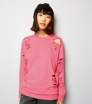 Parisian Bright Pink Cut Out Sweater New Look
