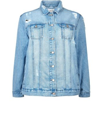 Curves Blue Ripped Oversized Denim Jacket New Look
