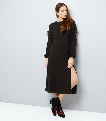 Black Tie Sleeve Split Side Midi Dress New Look