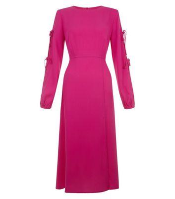Bright Pink Tie Sleeve Split Side Midi Dress New Look