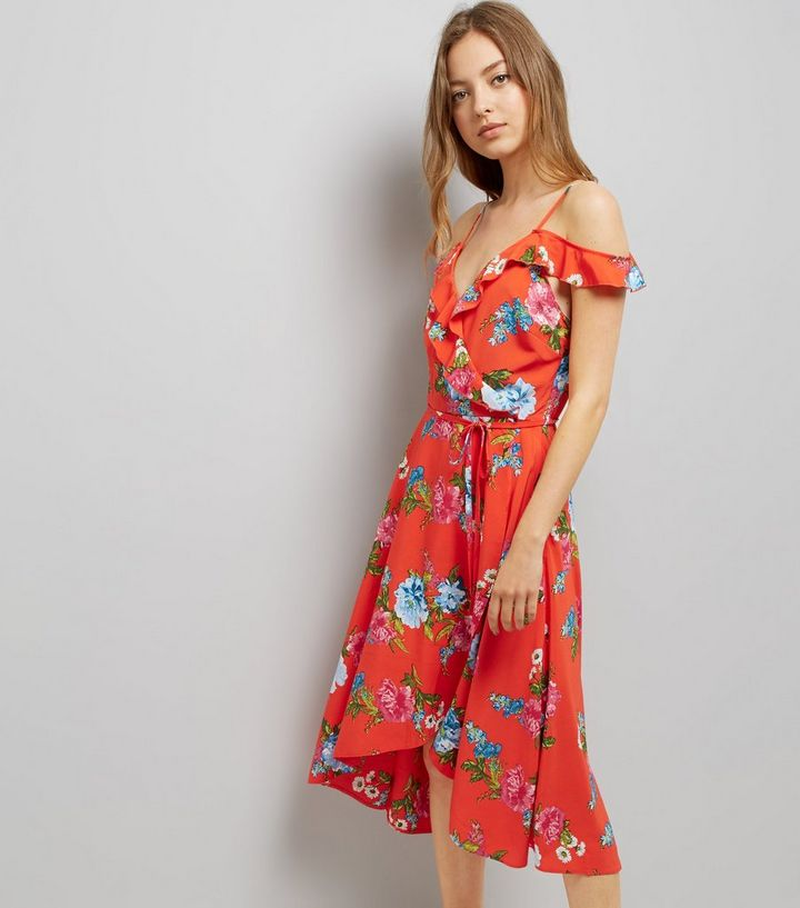 183ec0bfee3e7 Red Floral Print Frill Trim Wrap Front Midi Dress Add to Saved Items Remove  from Saved Items