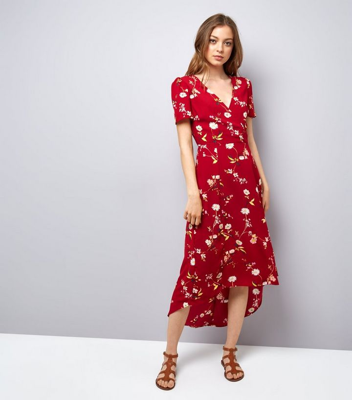 b43543544e Red Floral Print V Neck Midi Dress | New Look