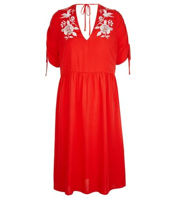 Red Floral Embroidered Smock Dress New Look