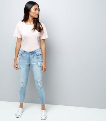 petite blue gem detail ripped skinny jeans new look