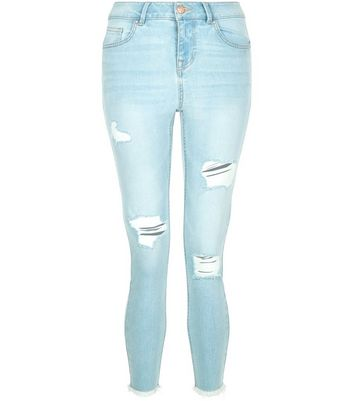 Petite Pale Blue Ripped Fray Hem Skinny Jeans New Look