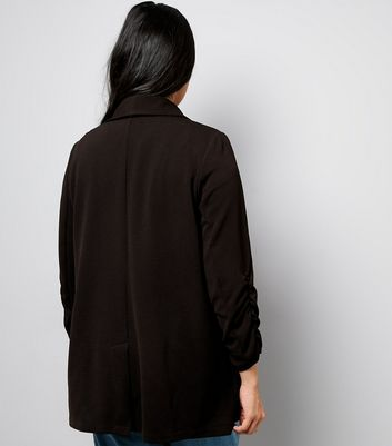 Curves Black Crepe Ruched Sleeve Blazer New Look