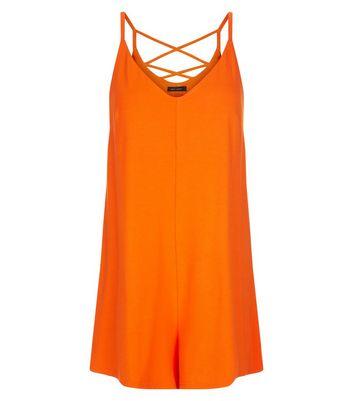 Orange Jersey Cross Back Strap Playsuit New Look