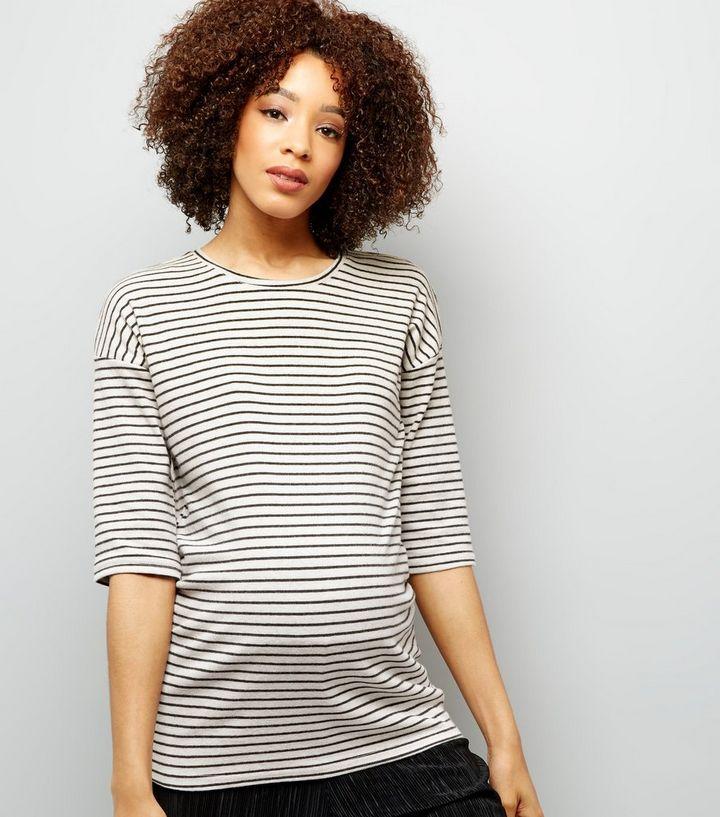 94302e4202 Maternity Black Stripe Brushed Crew Neck 3 4 Sleeve Top