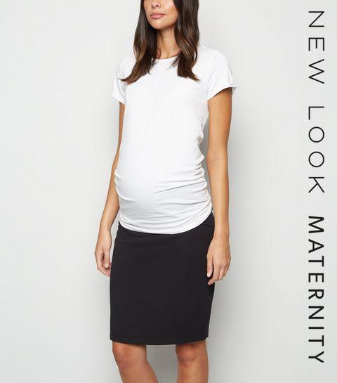 158de051c494e ... Maternity Black Jersey Midi Tube Skirt ...