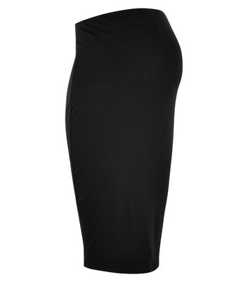 Maternity Black Jersey Midi Tube Skirt New Look