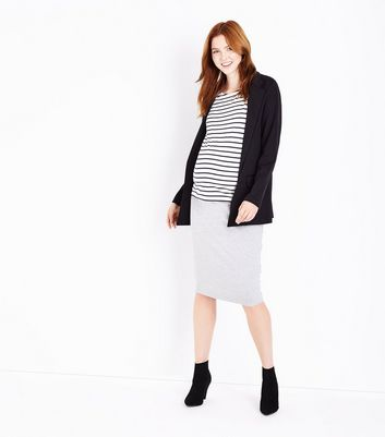 Maternity Grey Jersey Over Bump Midi Skirt New Look