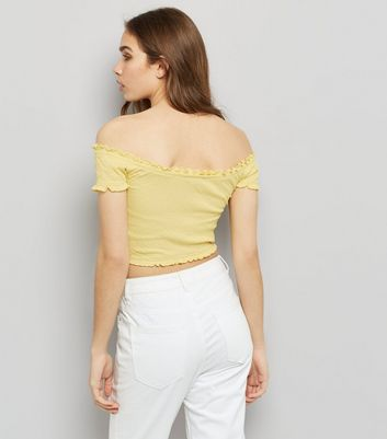 Yellow Short Sleeve Frill Trim Bardot Neck Top New Look
