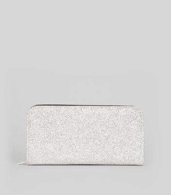 Silver Glitter Zip Around Purse New Look