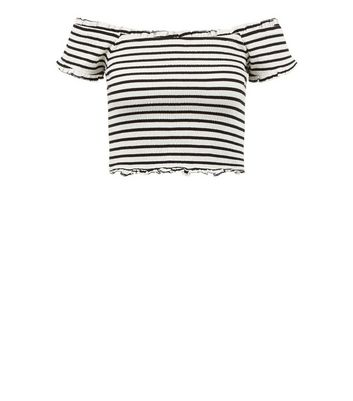 Black Crinkle Bardot Neck Top New Look