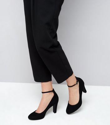 Black Comfort Suedette Ankle Strap Court Shoes