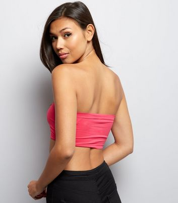 Bright Pink Seam Free Bandeau New Look