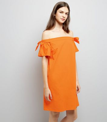 Bright Orange Tie Sleeve Bardot Neck Dress New Look