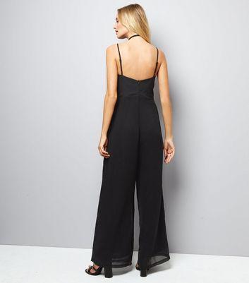 Mela Black Lace Front Jumpsuit New Look
