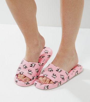 pink-pug-print-slider-slippers