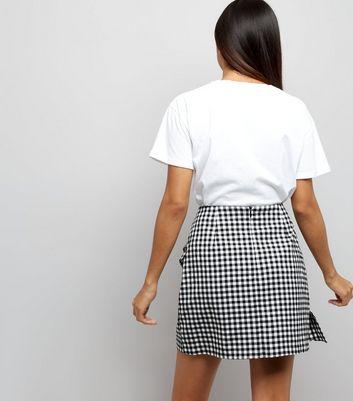 Petite Black Gingham Frill Trim Mini Skirt New Look