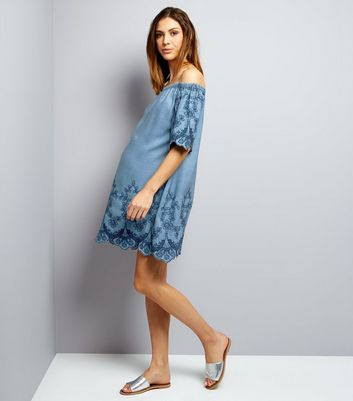 Maternity Blue Embroidered Denim Bardot Neck Dress New Look