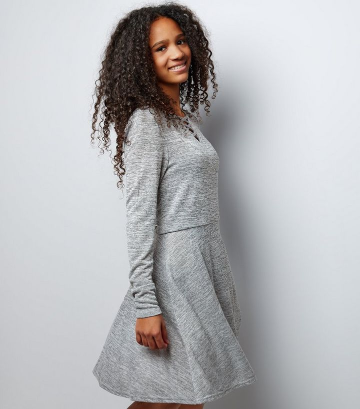 9c422bdfe0 Teens Grey Fine Knit Lattice Front Skater Dress