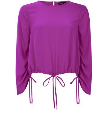 Purple Ruched Tie Hem Top New Look